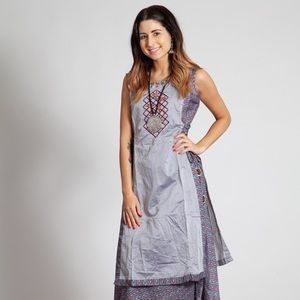 Apron style dress with side strings